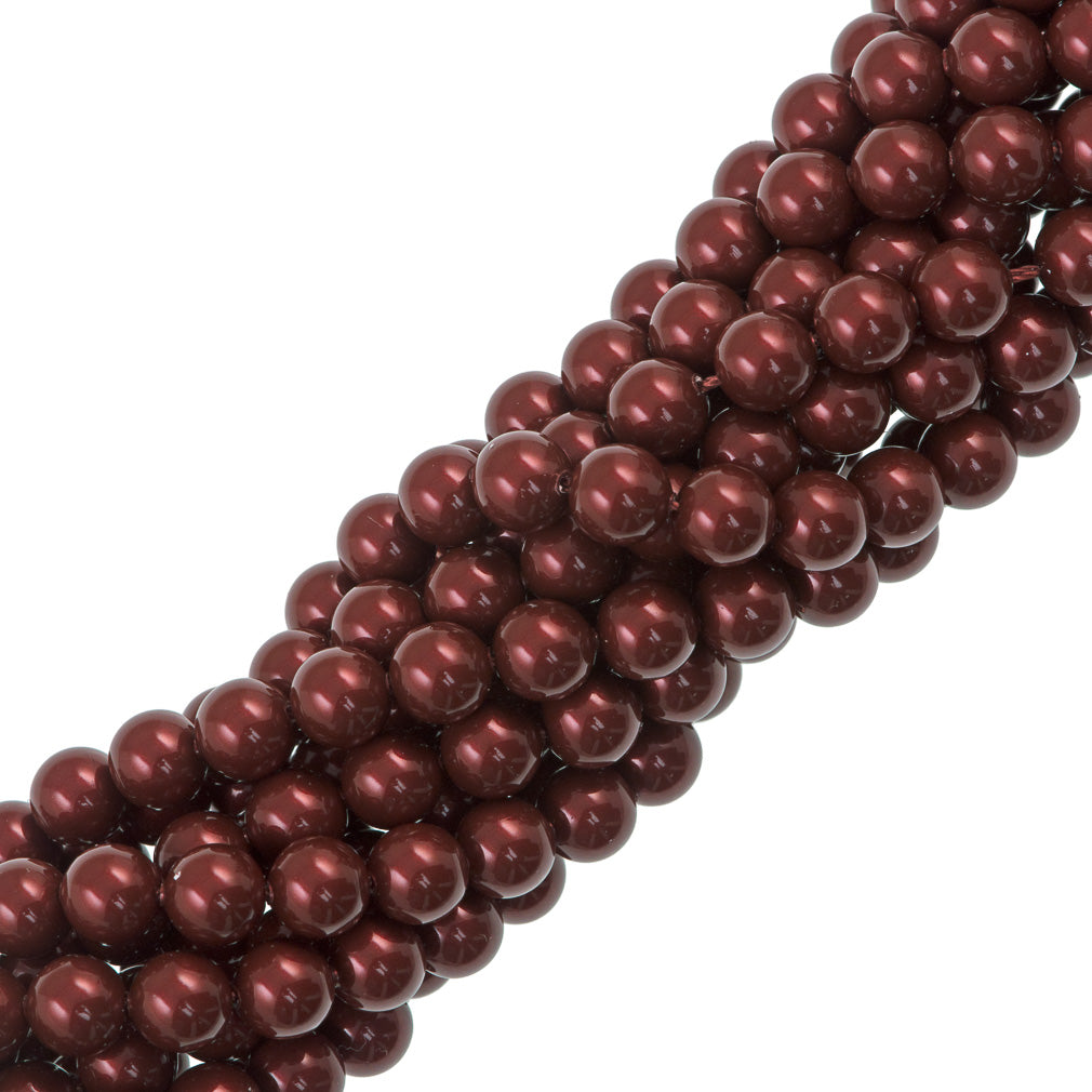 100 Swarovski 5810 4mm Round Bordeaux Pearl Beads