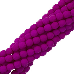 100 Czech Fire Polished 4mm Round Bead Neon Purple (25125)