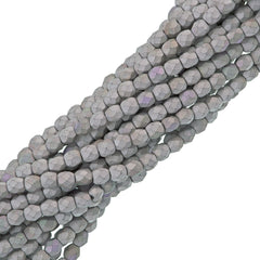 80 Czech Fire Polished 4mm Round Bead Matte Glittery Silver (98853)