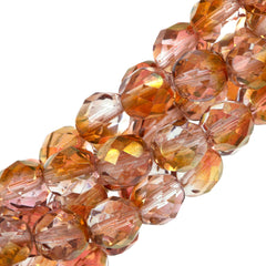 50 Czech Fire Polished 8mm Round Bead Transparent Pink Luster (14295)