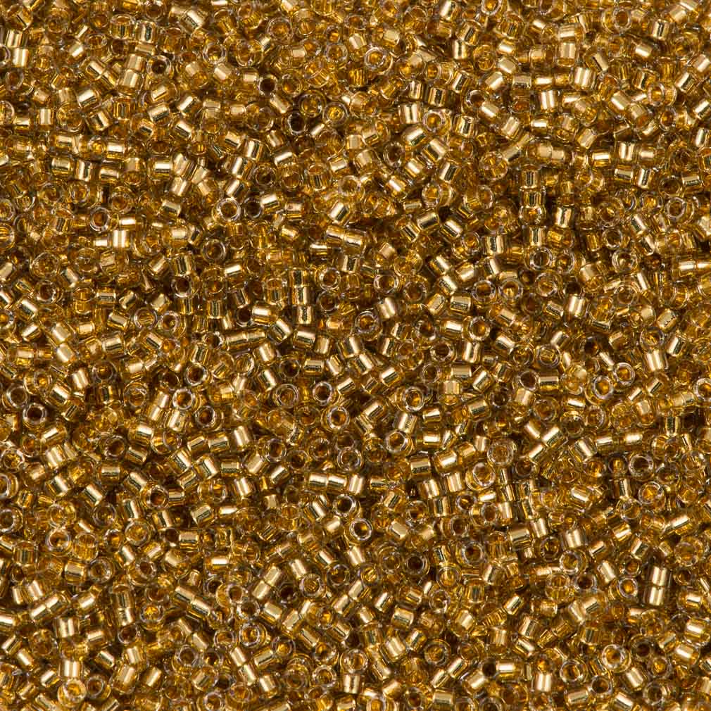 25g Miyuki Delica Seed Bead 11/0 24kt Gold Plate Lined Yellow DB2525