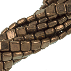 50 CzechMates 6mm Two Hole Tile Beads Bronze (90215)