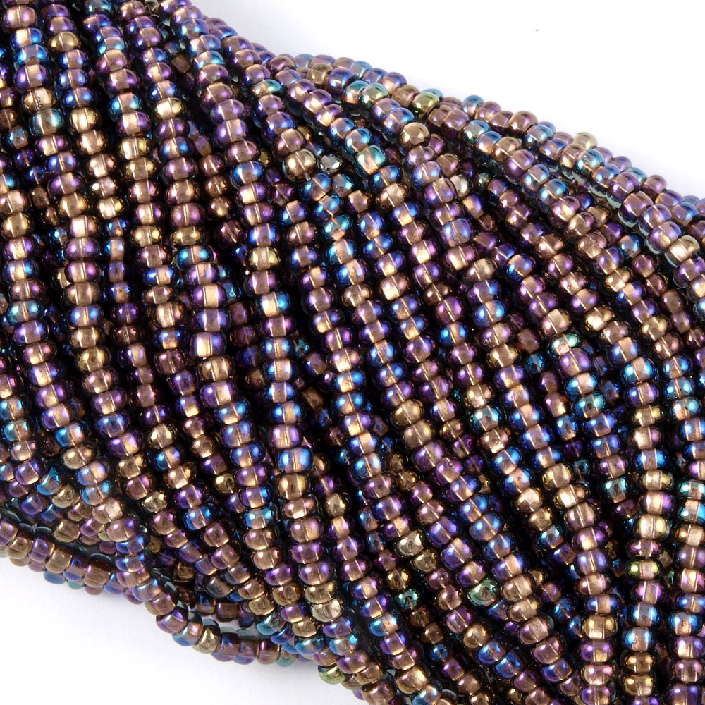 Czech Seed Bead 6/0 Copper Lined Black Crystal AB 1/2 Hank (49019)