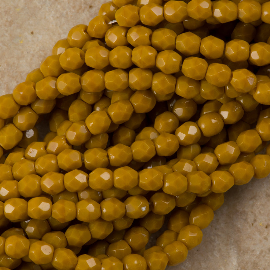 100 Czech Fire Polished 4mm Round Bead Goldenrod (13740)