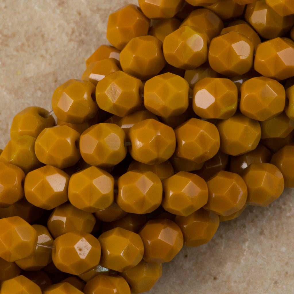 100 Czech Fire Polished 3mm Round Bead Goldenrod (13740)