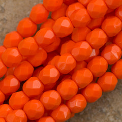100 Czech Fire Polished 4mm Round Bead Opaque Bright Orange (93130)