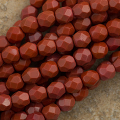 50 Czech Fire Polished 6mm Round Bead Burnt Umber (93500)