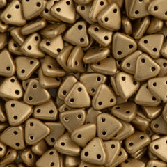 15g CzechMates 6mm Two Hole Triangle Beads Matte Metallic Flax (01710K)