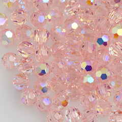 24 Preciosa Czech Crystal 6mm MC Round Bead Light Rose AB 70120AB