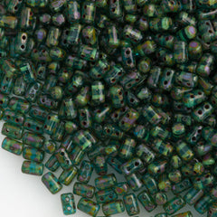Czech Rulla 3x5mm Two Hole Beads Aquamarine Travertin 15g 60020TV