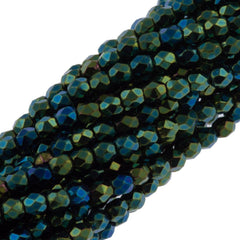 100 Czech Fire Polished 3mm Round Bead Green Iris (21455)