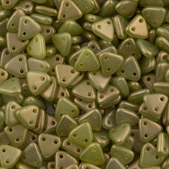 15g CzechMates 6mm Two Hole Triangle Beads Halo Ethereal Celadon (29250P)