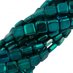 50 CzechMates 6mm Two Hole Tile Beads Mirror Teal (55130K)