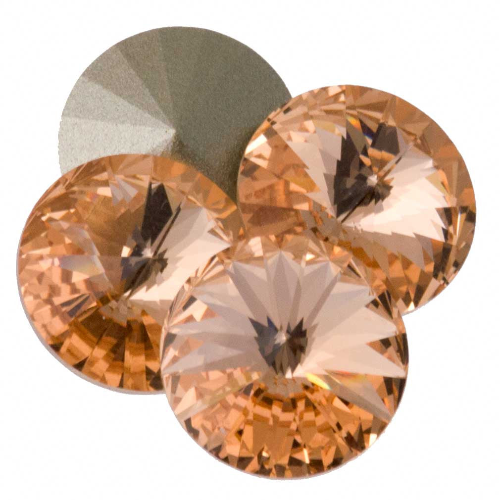 Four Swarovski Crystal 12mm 1122 Rivoli Light Peach (362)