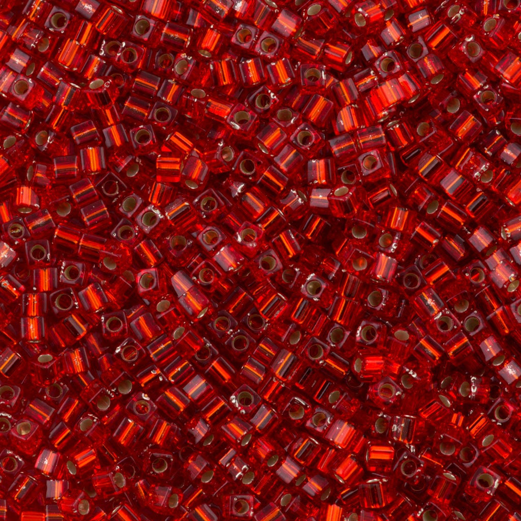 Miyuki 1 8mm Cube Seed Bead Silver Lined Red 15g (10)