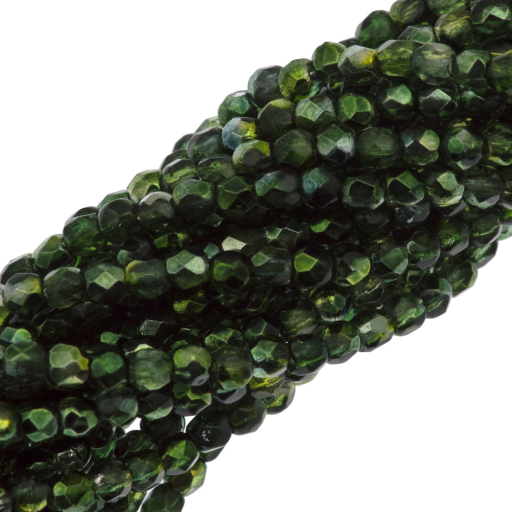 100 Czech Fire Polished 2mm Round Bead Fern Green Mirror (55070K)