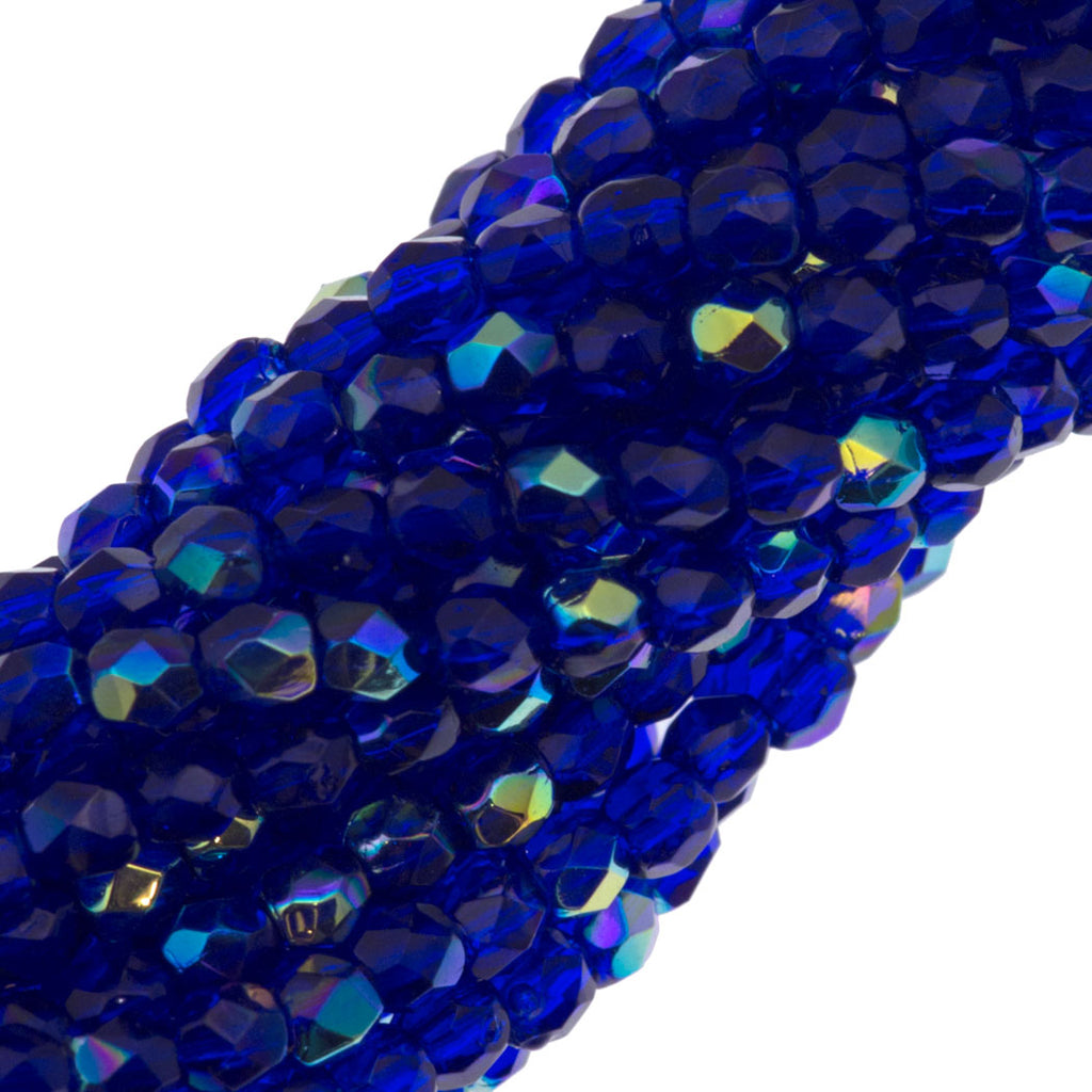 100 Czech Fire Polished 3mm Round Beads Cobalt AB (30090X)