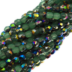 100 Czech Fire Polished 3mm Round Bead Milky Peridot Vitrail (52010V)