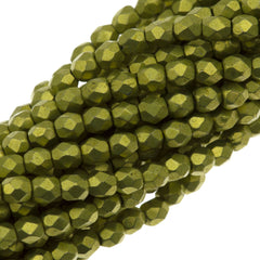 100 Czech Fire Polished 3mm Round Bead Saturated Metallic Primerose Yellow (77058)