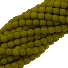 100 Czech Fire Polished 4mm Round Bead Saturated Chartreuse (29535)