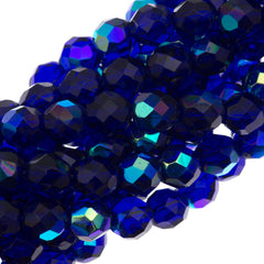 50 Czech Fire Polished 8mm Round Bead Cobalt AB (30090X)