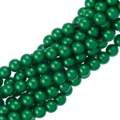 100 Swarovski 5810 6mm Round Eden Green Pearl Beads