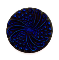 18mm Glass Cabochon Midnight Scarabe on Jet Pinwheel Design