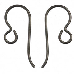 TierraCast Niobium Grey 20ga Fish Hook Ear wire with 2.5mm Regular Loop