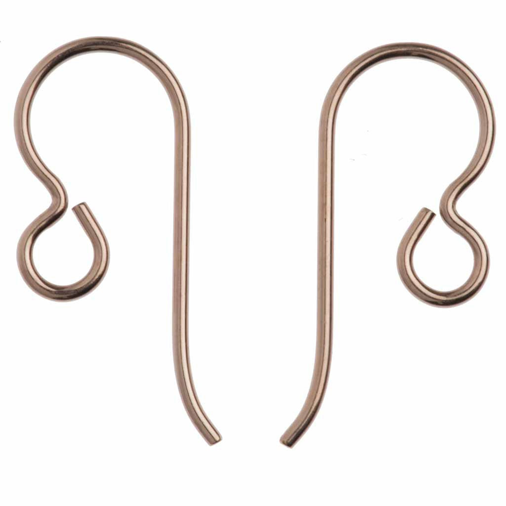 TierraCast Rose Gold Filled 20ga Fish Hook Ear wire with 2.5mm Regular Loop
