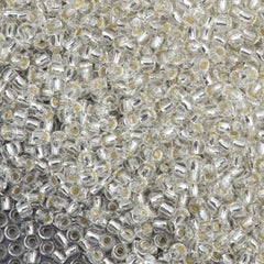 Toho Round Seed Bead 11/0 Permanent Finish Silver Lined Crystal 19g Tube (21PF)