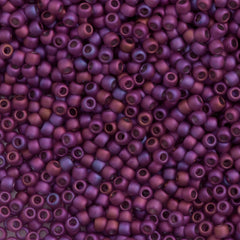 Toho Round Seed Bead 11/0 Matte Plum Gold Luster 19g Tube (625F)