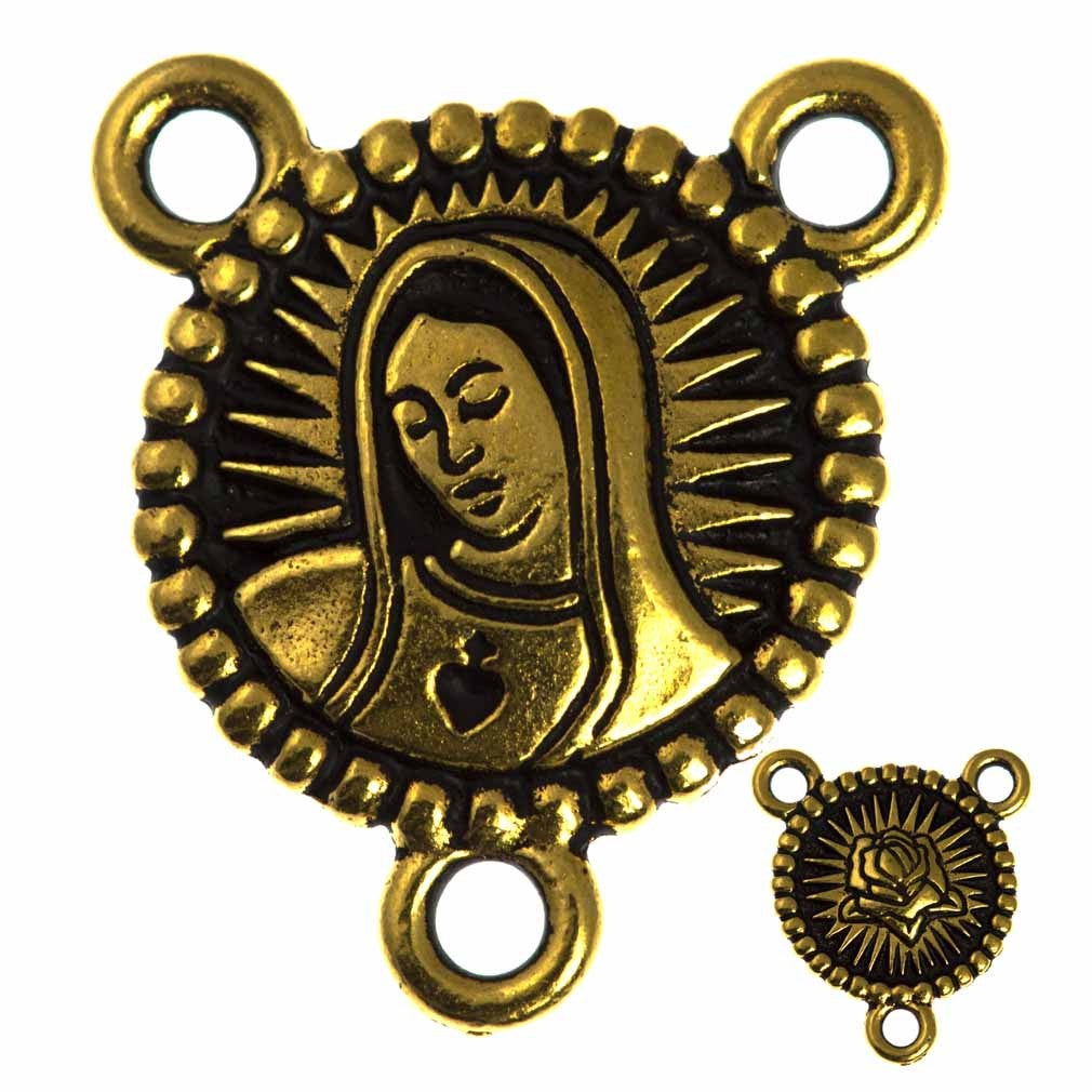 TierraCast Antique Gold Plated Pewter Our Lady Link