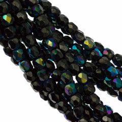 100 Czech Fire Polished 3mm Round Bead Hematite AB (14400AB)