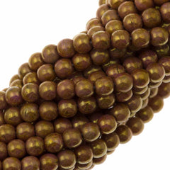 200 Czech 4mm Pressed Glass Round Beads Opaque Rose Gold Topaz Luster (65491P)