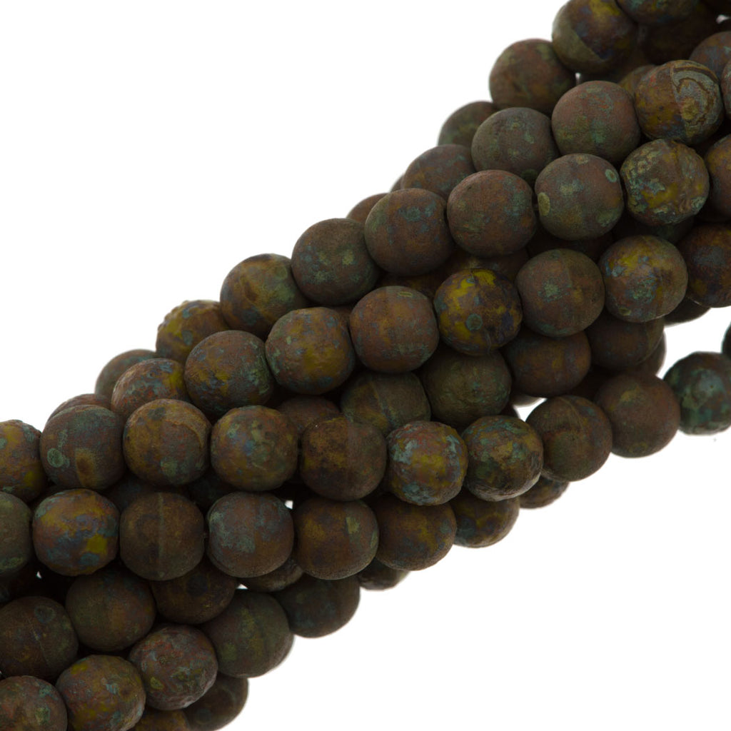 100 Czech 6mm Pressed Glass Round Opaque Olivine Stone Picasso Beads (53400TS)