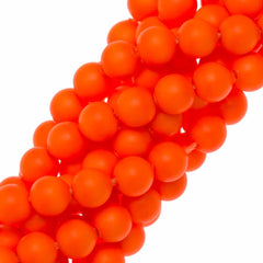100 Swarovski 5810 4mm Round Neon Orange Pearl Beads