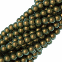 100 Swarovski 5810 4mm Round Iridescent Green Pearl Beads