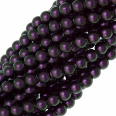 100 Swarovski 5810 4mm Round Iridescent Purple Pearl Beads