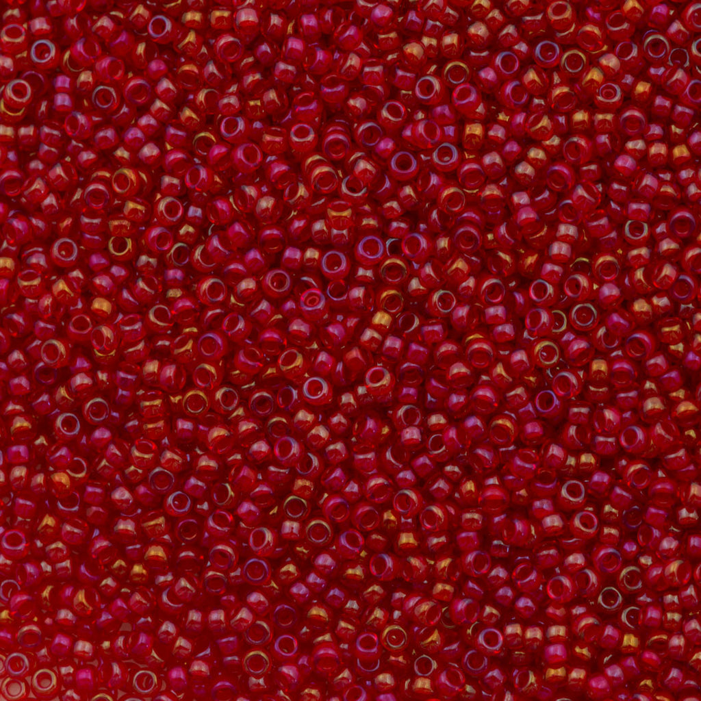 Miyuki Round Seed Bead 15/0 Inside Color Lined Red AB 2-inch Tube (2248)