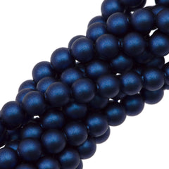 100 Swarovski 5810 4mm Round Iridescent Dark Blue Pearl Beads