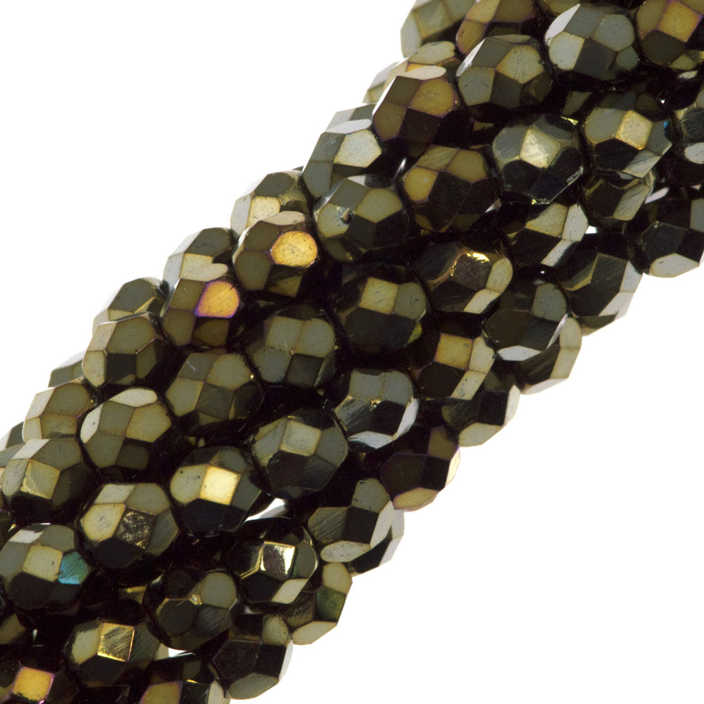 100 Czech Fire Polished 4mm Round Bead Brown Iris (21415)