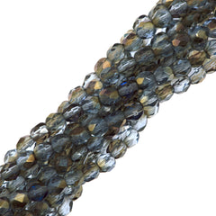 100 Czech Fire Polished 4mm Round Bead Sapphire Twilight (30020W)