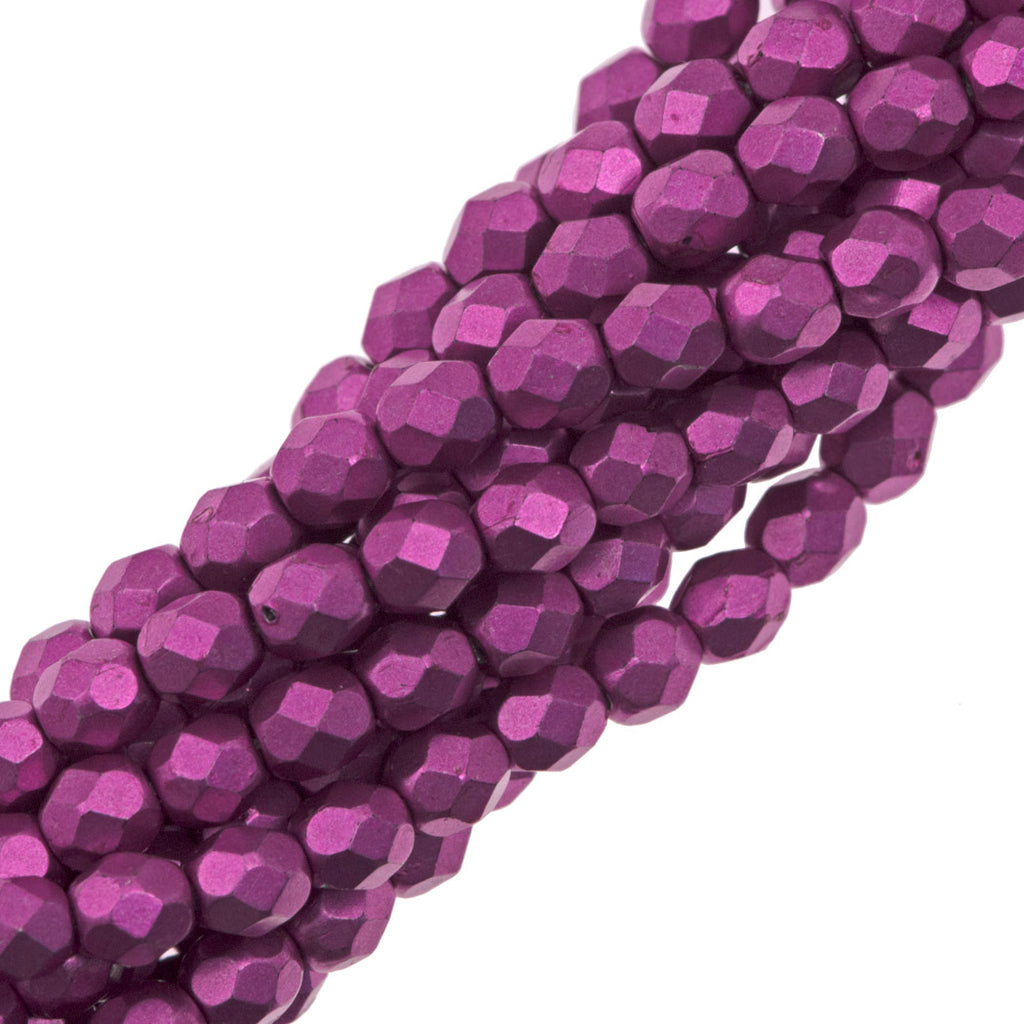 100 Czech Fire Polished 4mm Round Bead Saturated Metallic Pink Yarrow (77062)