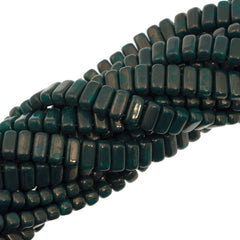 50 CzechMates 3x6mm Two Hole Brick Beads Persian Turquoise Moon Dust (63150MD)