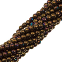 200 Czech 3mm Pressed Glass Round Beads Jet Bronze Vega (23980Y)