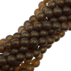 100 Czech 6mm Pressed Glass Round Gold Suede Smoky Topaz Beads (10230MSG)