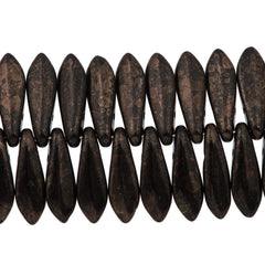 50 CzechMates 5x16mm Two Hole Dagger Jet Marbled Dark Bronze Beads (15435)