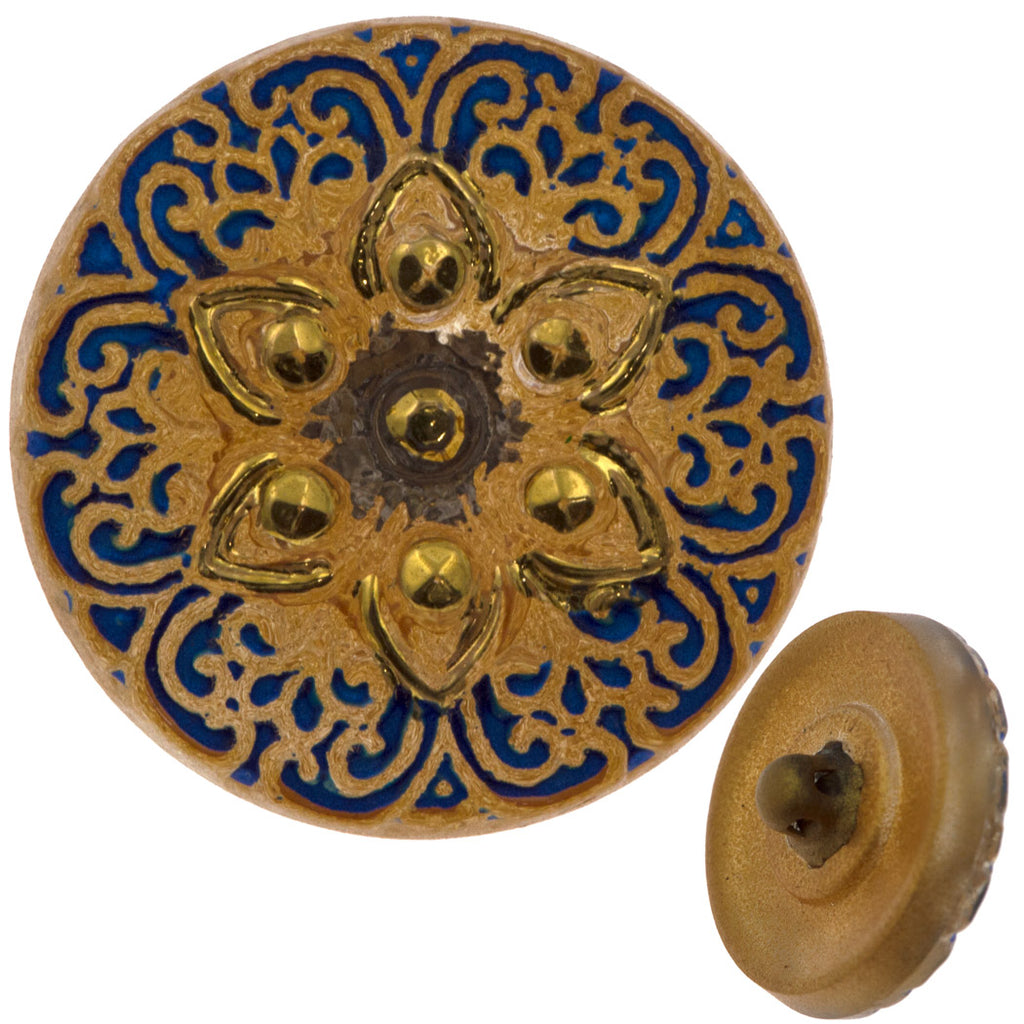 Czech 18mm Golden Arabic Star Glass Button