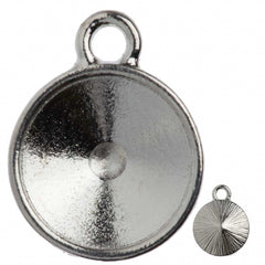 TierraCast Rhodium Plated Pewter 12mm Textured Rivoli Drop Frame
