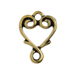 TierraCast Antique Gold Plated Pewter Vine Heart Link
